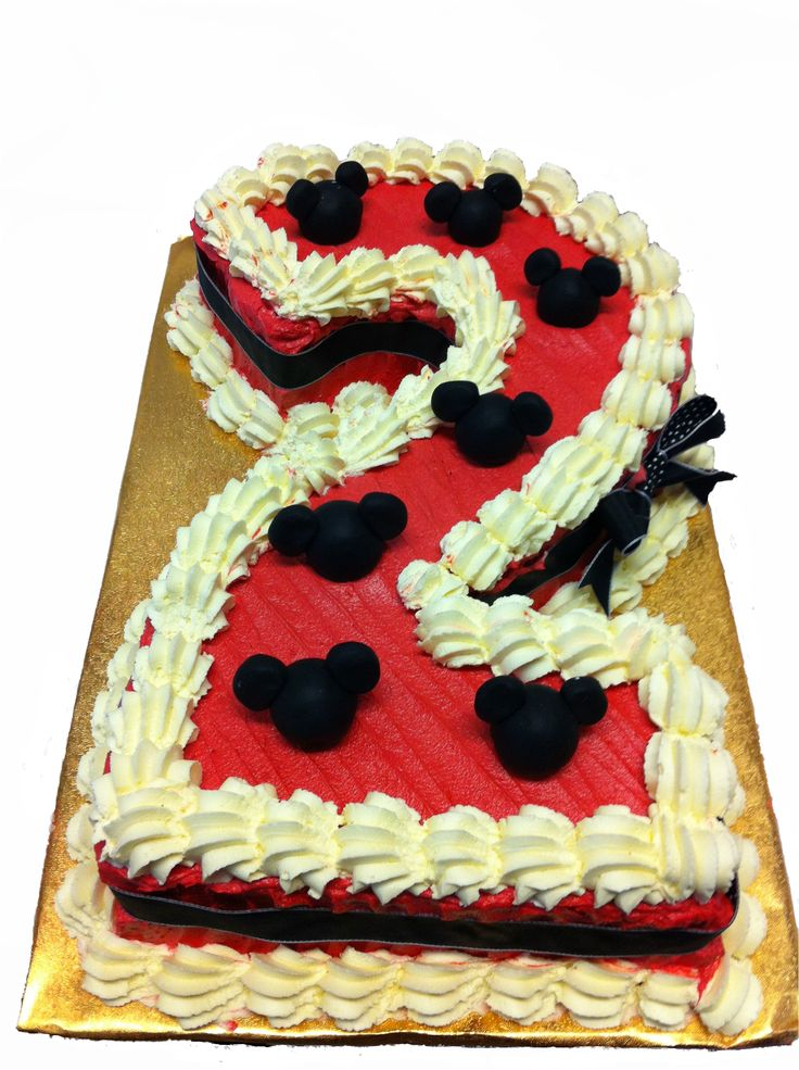 Red Number 2 Cake With Mickey Mouse Ears Specialty Cakes