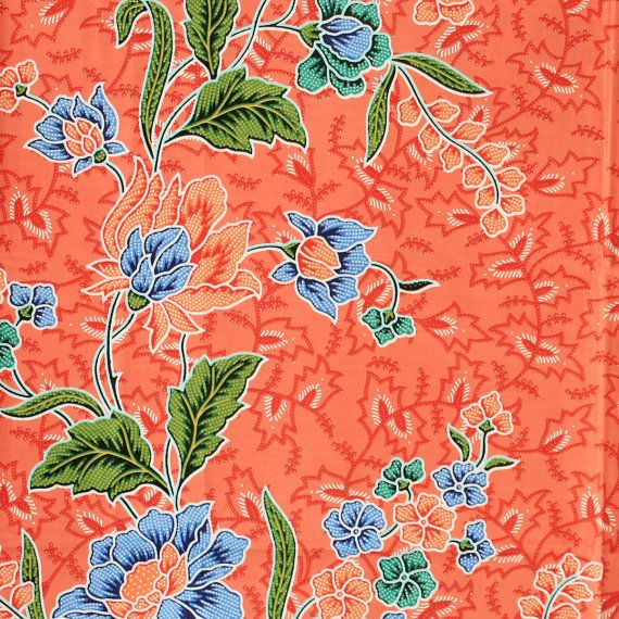 orange flowers vintage pure cotton traditional by 18dec on Etsy, $17.00