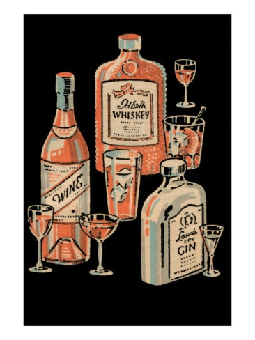 Whiskey, Wine and Gin Poster