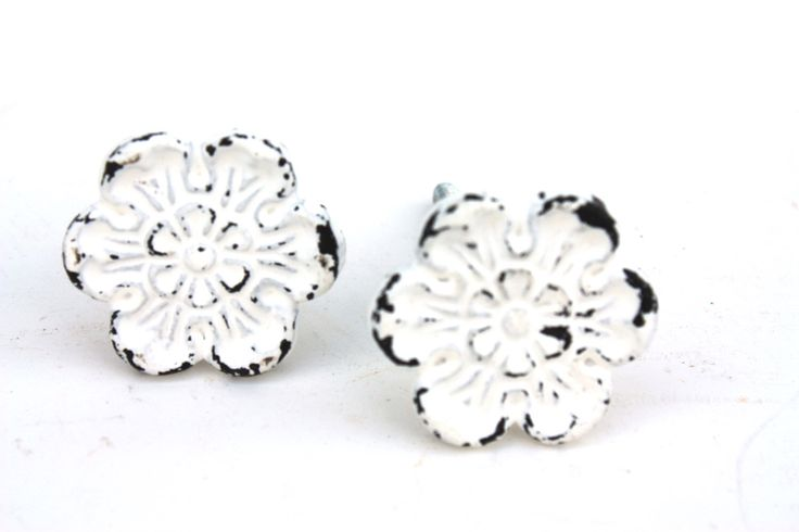 Shabby Cottage Chic White Cast Iron Flower Drawer Pull by SecondHandNews on Etsy https://www.etsy.com/listing/160933394/shabby-cottage-chic-white-cast-iron