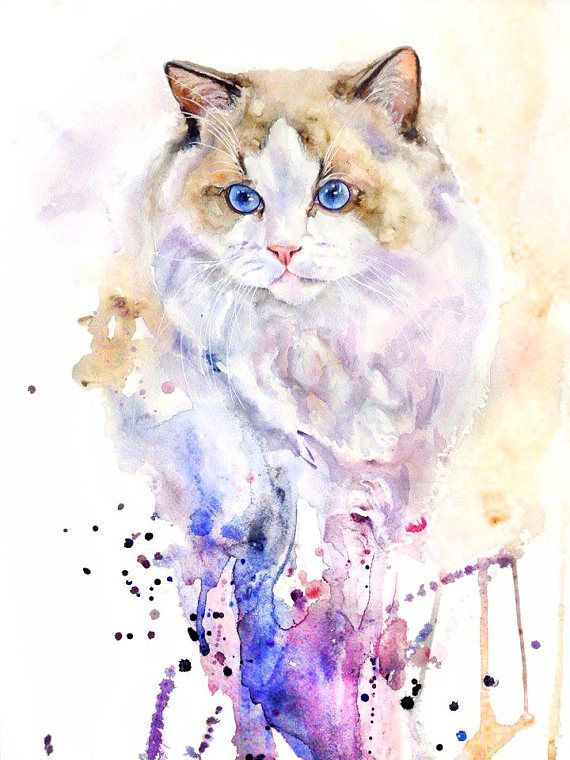 Custom Cat Portrait Cat Memorial Custom Cat Painting Cat Art