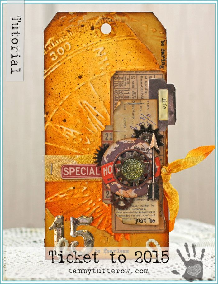Tammy Tutterow Tutorial | Ticket to 2015 Just Be | Mixed Media Art Tag Tutorial