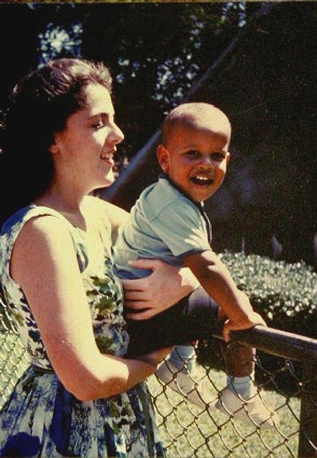 Barack Obama with his mother