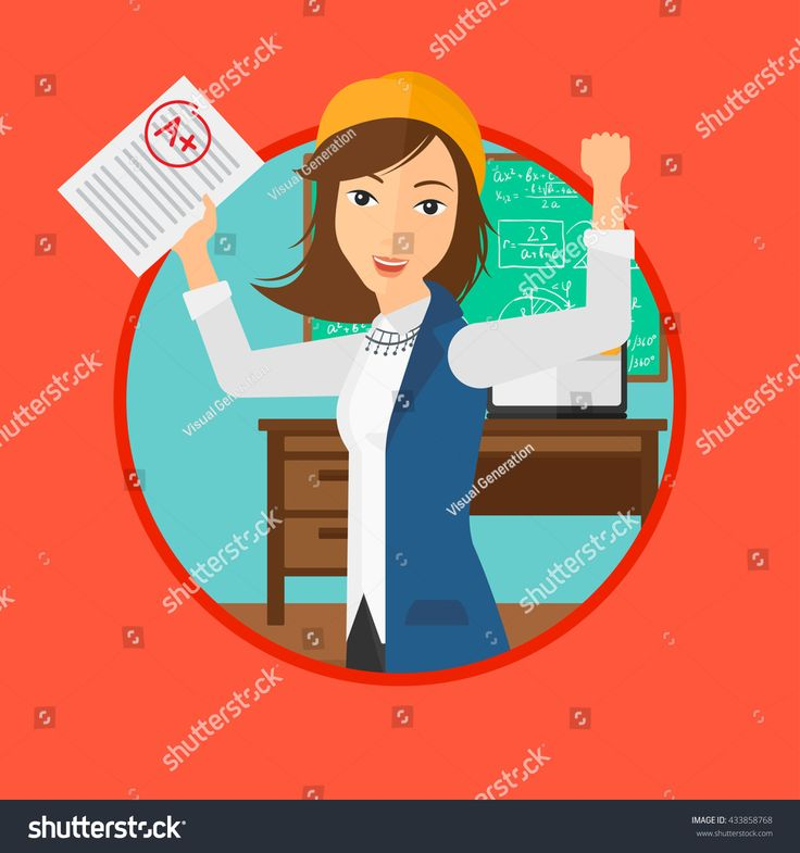 stock-vector-student-holding-a-sheet-with-the-highest-mark-student-showing-test-with-a-grade-in-the-classroom-433858768.jpg 1500×1600 пикс