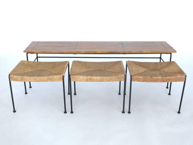 Arthur Umanoff Bench With Nesting Stools Coffee Tables