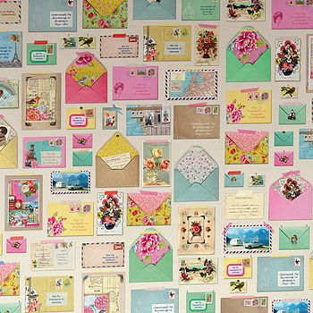 """""""You've got mail"""" wallpaper (colour: linen) by PiP Studio. Nice, but ridiculously expensive at €217,64 a roll."""