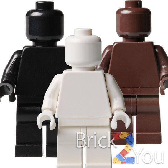Lego Custom Set/3 White Black and Dark BrownPlain by Brick2you