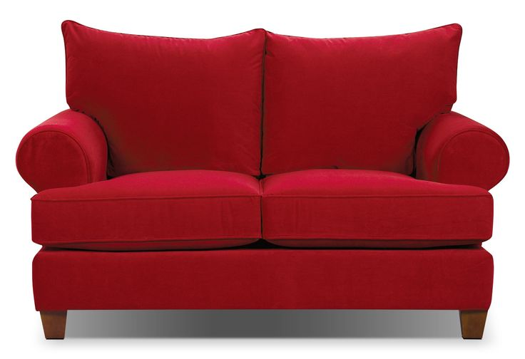 Paige Microsuede Loveseat - Red   The Brick