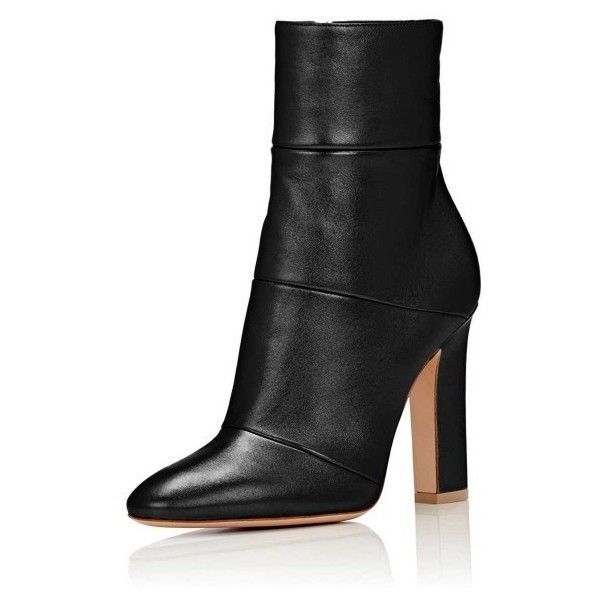 Women's Lelia Black Chunky Heel Boots Side Zip-Up Almond Toe Ankle... ($79) ❤ liked on Polyvore featuring shoes, boots, ankle booties, almond toe booties, almond toe boots, black boots, black side zip boots and black chunky heel boots