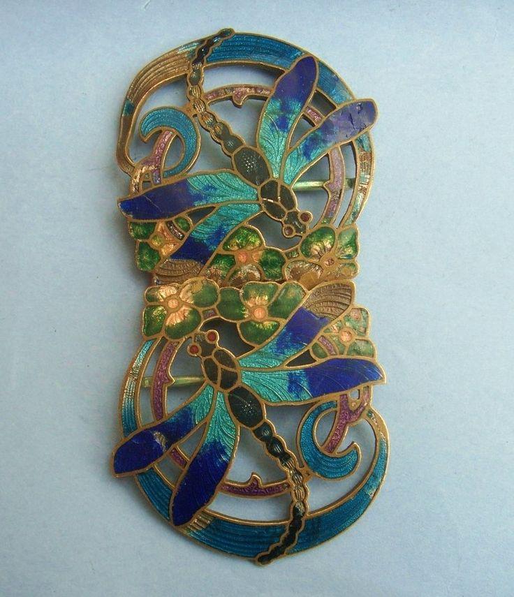 Old Vintage Antique Art Nouveau Enamel Dragonfly Flower Buckle Brass French 1905 | eBay