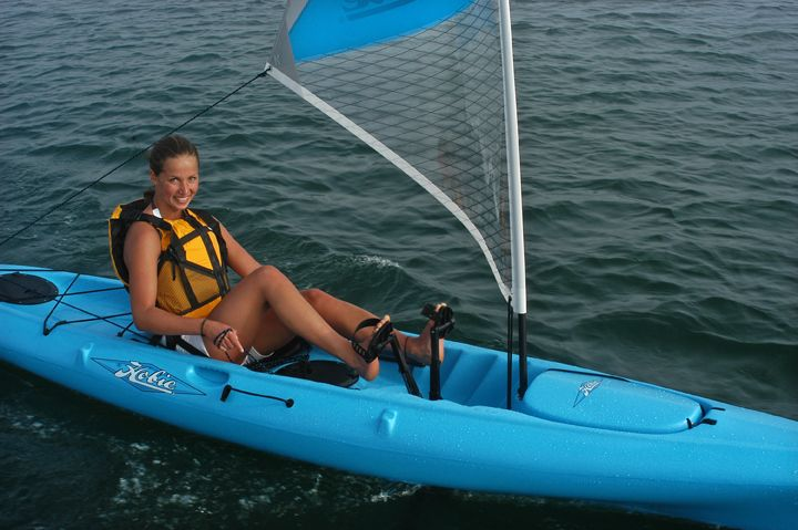Hobie kayak with mirage drive pedal power- we totally want a couple of these for playing around on!