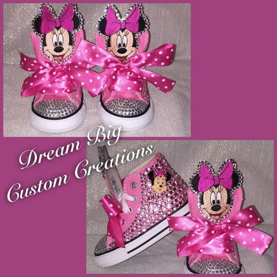 Custom Minnie Mouse Toddler Bling High Top Converse by DreamBigCC
