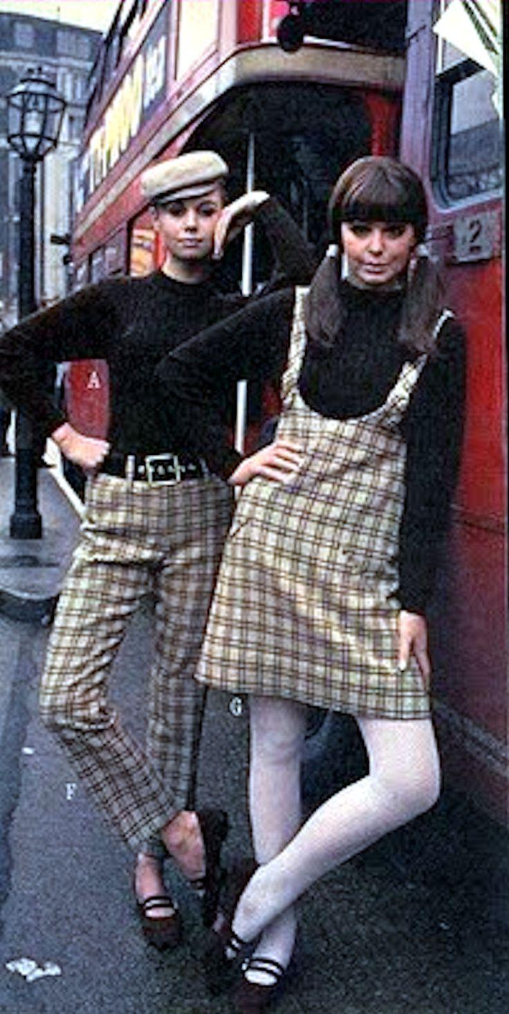 1960s pinafore jumper plaid pants sweaters model photo print ad