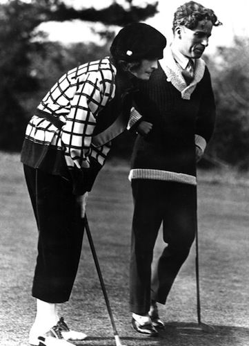 Pola Negri and Charlie Chaplin, golfing