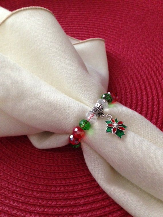 Set of 8,Christmas Napkin Rings, Christmas Napkin Holders, Poinsettia Napkin Rings, Beaded Napkin Rings,Christmas Table Accessories