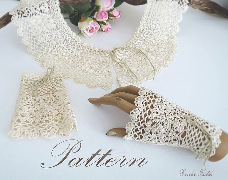 Emelie.Pattern crochet boho lace collar and bracelet cuff.Tutorial PDF file instructions crochet. Crochet jewelry collar,mitts.