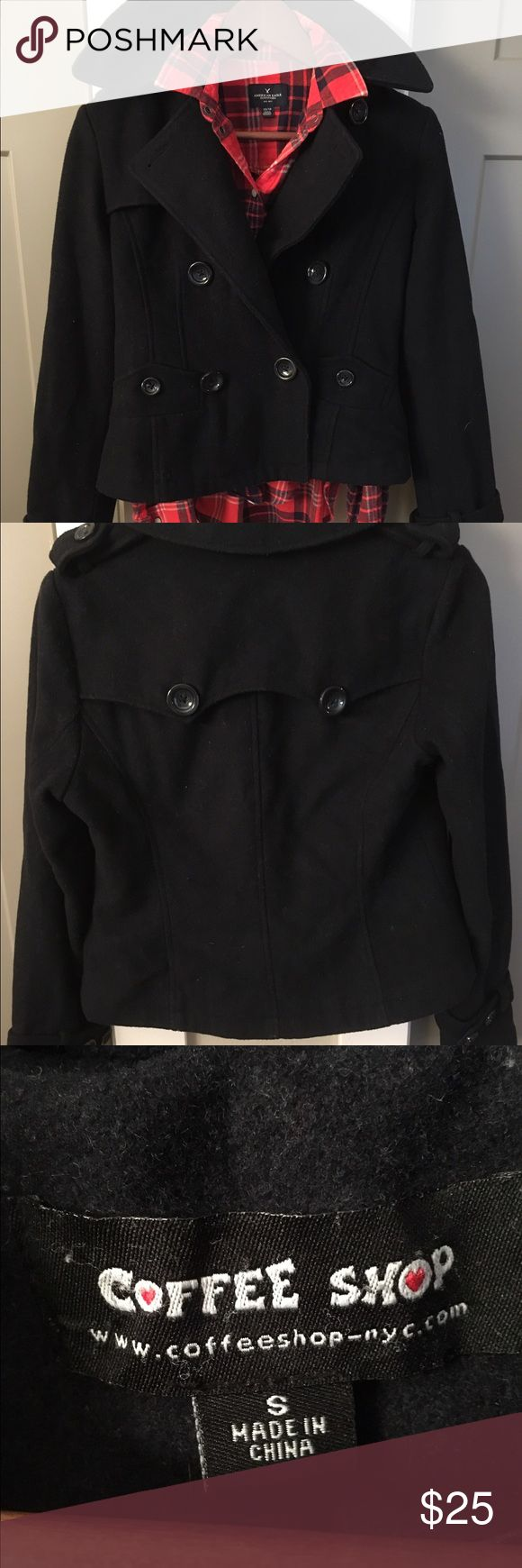 Coffee Shop brand navy pea coat Coffee Shop pea coat. This is a dark navy. Almost looks black. Great condition. All buttons in tact. Please feel free to ask any question. CoffeeShop Jackets & Coats Pea Coats