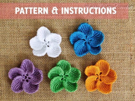 Crochet Plumeria Pattern and Instructions - Crochet Flower Pattern - Crochet Pattern for Bag or Hat Applique - Video Tutorial