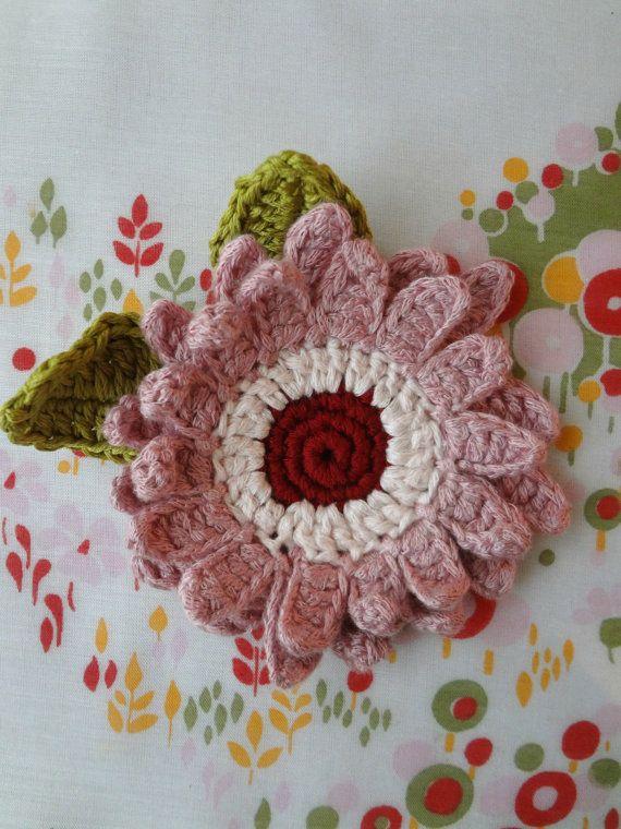 Crocheted Gerbera Brooch Crochet Flower Brooch Flower