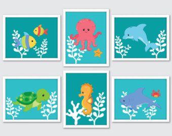 Sea Animals Nursery Art Sea Life Art Sea Animals by RomeCreations