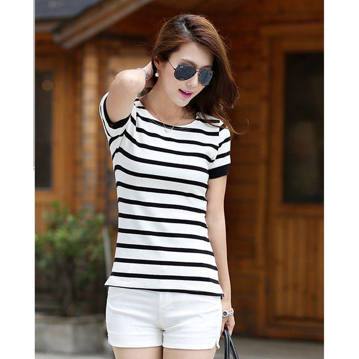 Camisas De Rayas Mujer 2017 Stripe T-Shirt Woman With Short Sleeves Tshirt Women Cotton Korean Summer Top Casual Tee Shirt Femme