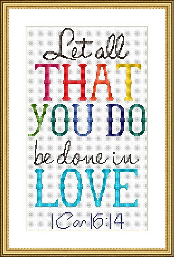 Bible Verse Cross Stitch Chart 1 by CraftedwithGodsLove on Etsy