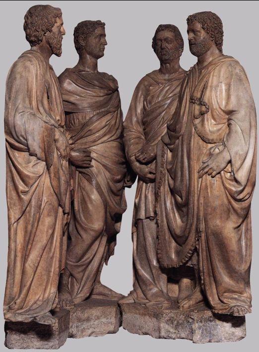 Quattro Santi Coronati 1430-1417 a conversation and communication between the sculpture, they could be real men. Nanni di Banco.