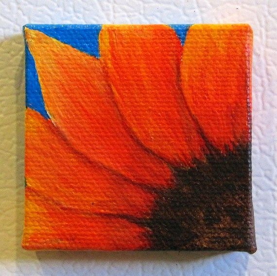sunflower paintings on canvas | sunflower canvas magnet | Painting ideas: sunflowers