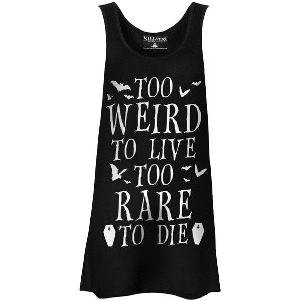 Killstar Gothic Too Weird To Live Vest Dress ❤ liked on Polyvore featuring tops, dresses, shirts and tank tops