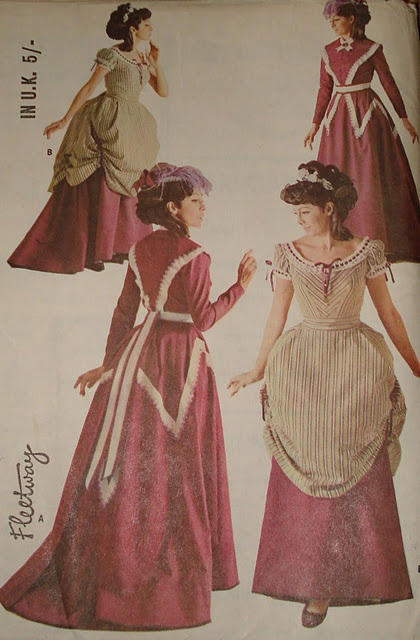 McCall's 8942 size 10-12 and 18-20 bustle dress. Skirt and overskirt, two blose options. Centennial 1967