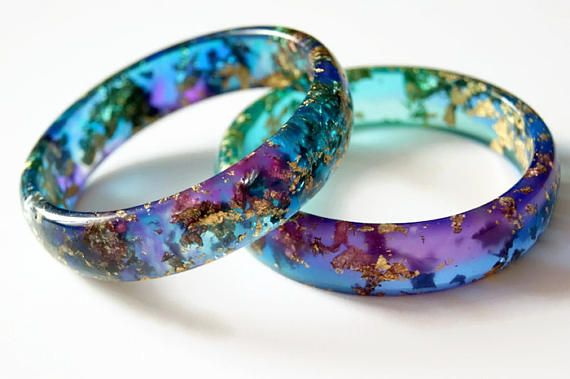 Resin Rainbow colorful bracelet Bangle bracelet Resin bracelet