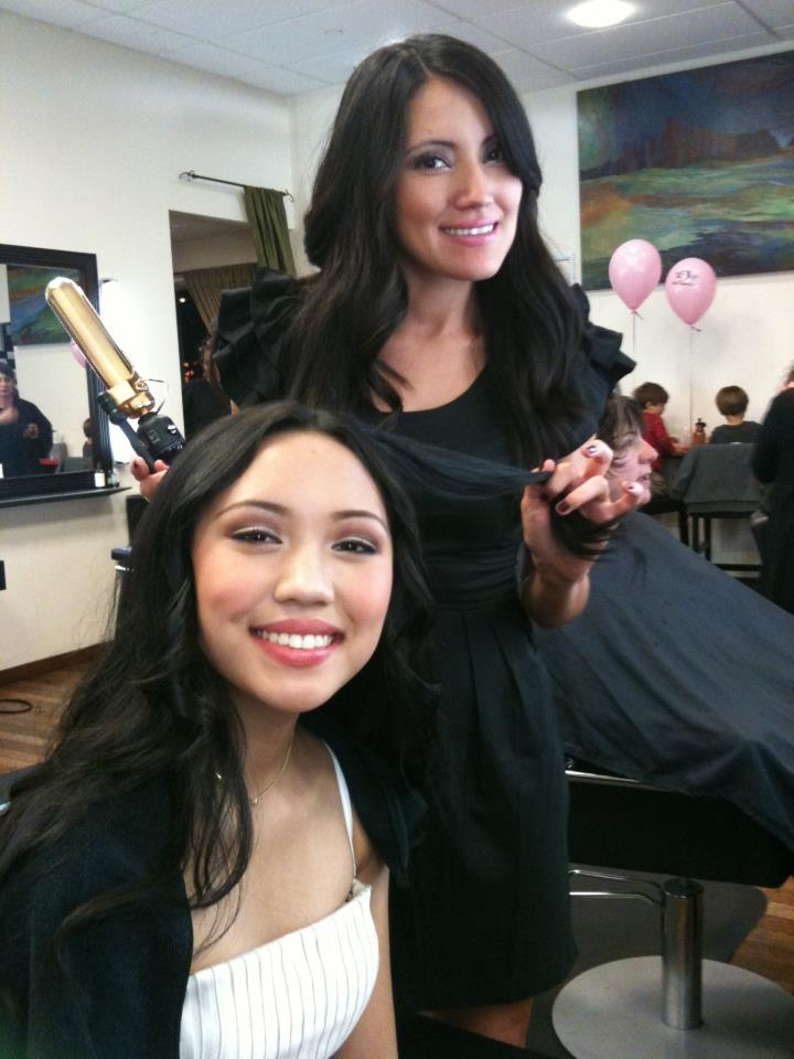 Atelier artist Alejandra gives American Idol contestant Thia Megia a beautiful cut and style