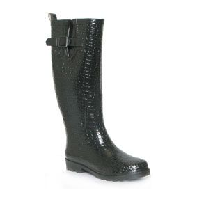 W0033  Womens Crocodile Effect Print Wellington Boot in Black with Buckle Trim on a Low Heel  £14.99 www.shoezone.com  #womens #wellingtons #wellies #black #crocodile print #rain #snow #autumn #winter