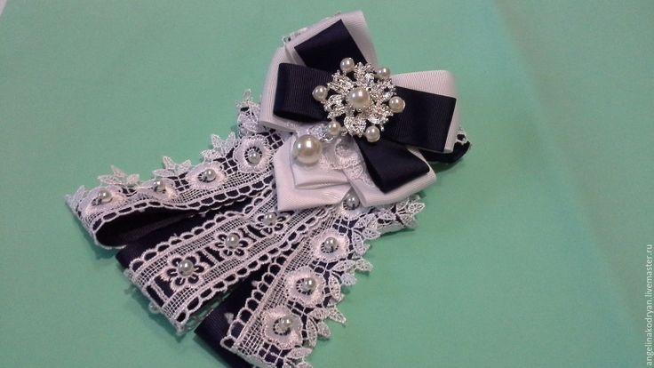 Купить Галстук-брошь бело-синий - тёмно-синий, галстук женский, галстук брошь