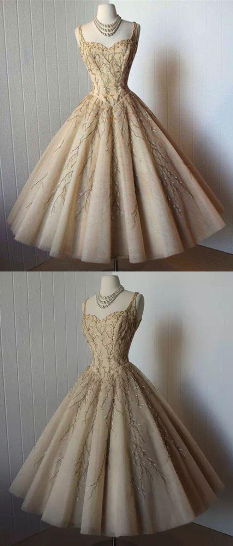 champagne 1950s vintage dress