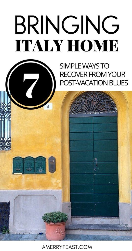Imagine this. You're an armchair traveler and dream of visiting Italy. OR You're back from Italy & missing it like crazy.   How do you infuse your life with a little of that la dolce vita? Here are 7 simple ideas for bringing Italy home.  Bringing Italy Home (7 simple ways to recover from your post-vacation blues)   www.amerryfeast.com