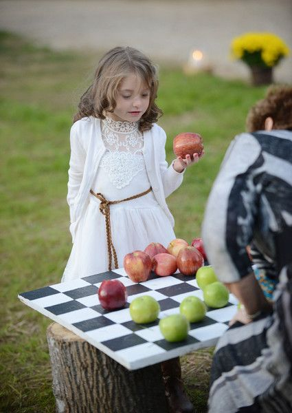 Unique fall rustic wedding idea - giant tic-tac-toe with fall apples! {Sarah Whitmeyer Photography}