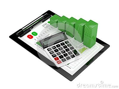 3d rendering of chart growth with calculator and clipboard isolated over white