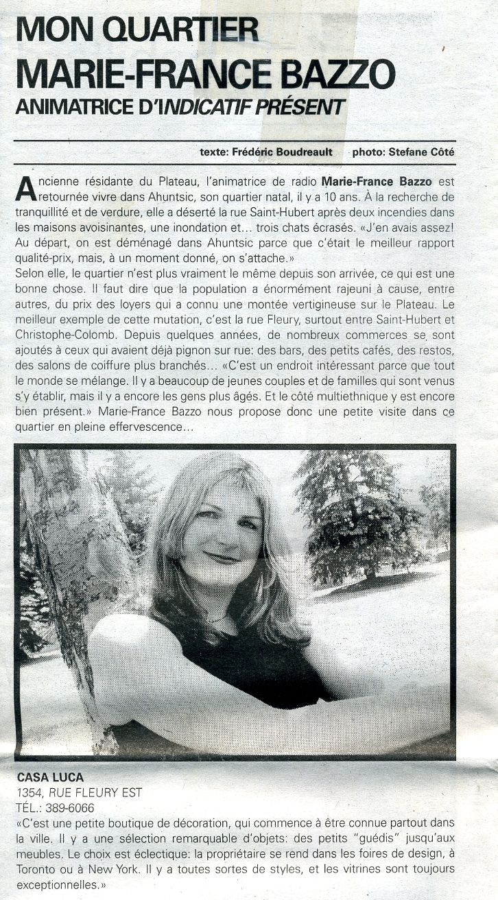 Marie-France Bazzo parle de la boutique Casa Luca . www.casaluca.com
