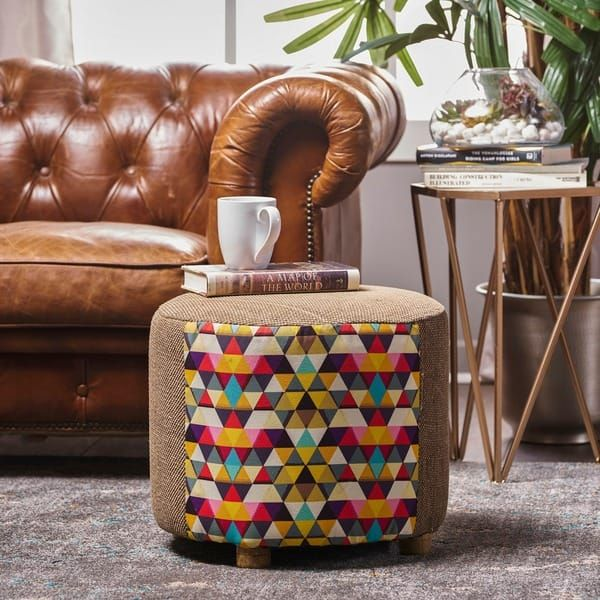 Mortimer Mosaic Fabric Round Ottoman Stool by Christopher Knight Home