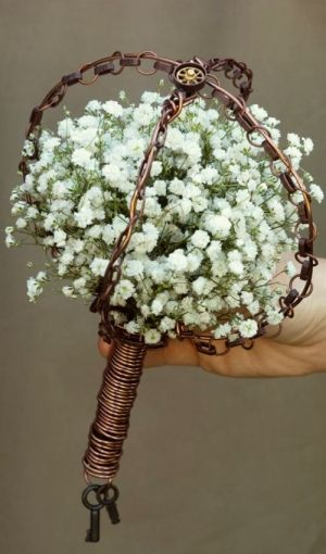 Steampunk wedding bouquet - just the wire handle with paper roses perhaps?