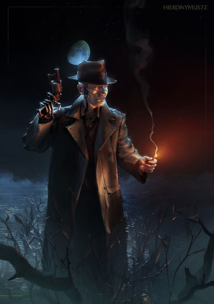 The Horror of Far Harbor (Nick Valentine from Fallout 4), Alfred Khamidullin on ArtStation at https://www.artstation.com/artwork/nWxre