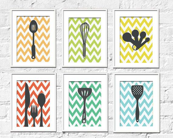Kitchen Art Prints  Chevron Kitchen Set of 6 8X10 by TexturedINK, $48.00