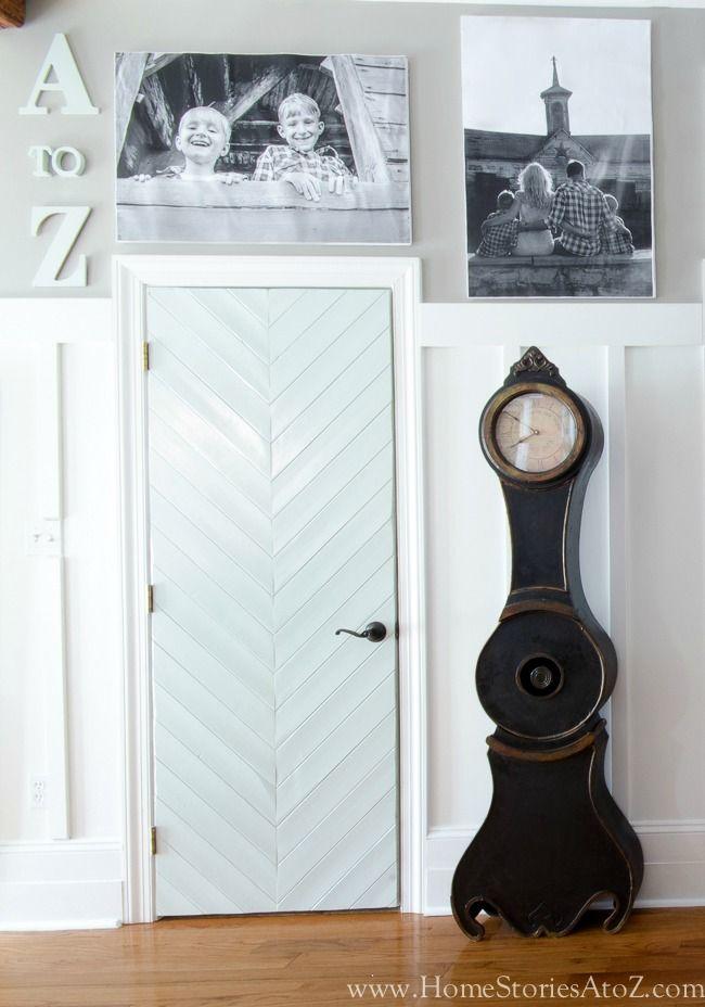 A custom herringbone door or chevron door is expensive to buy. This DIY Herringbone Door Tutorial with show you how to make a herringbone door using your existing builder grade door.