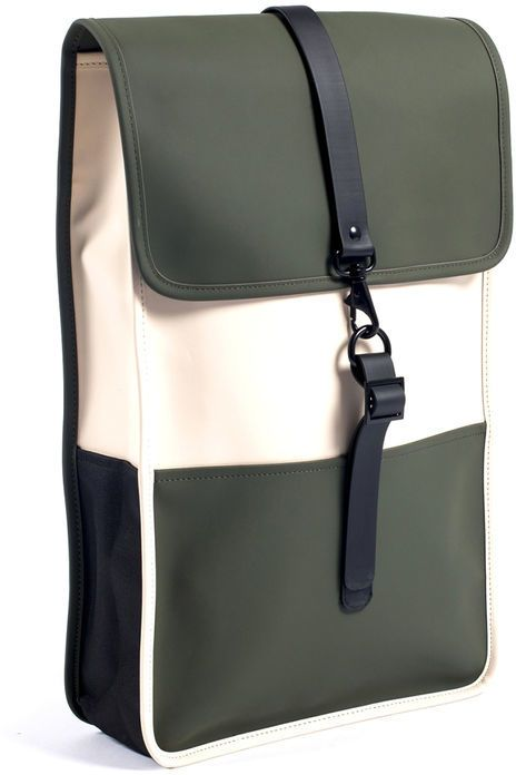 RAINS Beige and Green Water-Resistant Rucksack