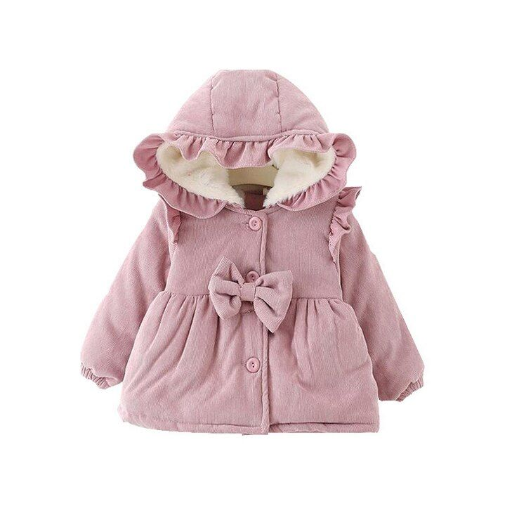 Red Girls Warm Dress Coat Winter Outwear Christmas Party Parka With Headband