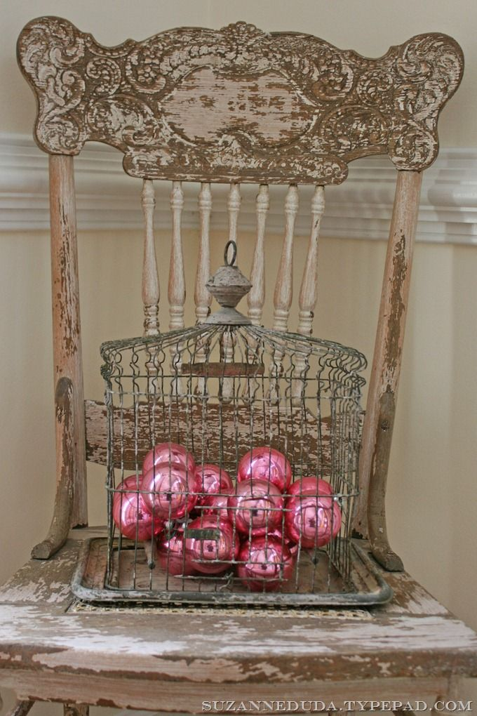 birdcage2.my favorite chippy birdcage + my favorite chippy chair + vintage pink shiny brite ornaments = a bit of Christmas fun