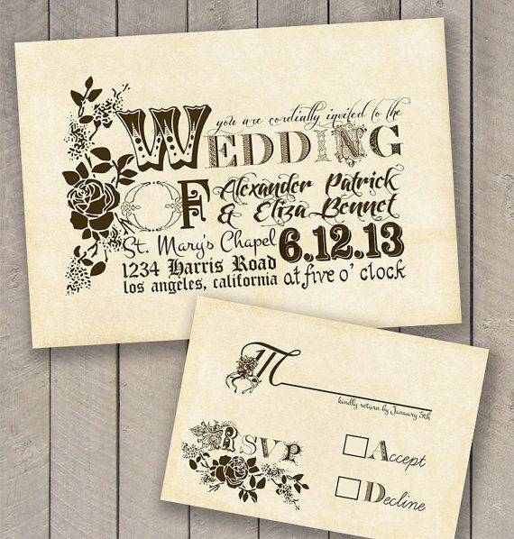 Vintage Wedding Invitation and rsvp by perfectlywhimsical on Etsy, $14.99