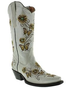 Women's cowboy boots leather embroidered butterfly flower rhinestone off white