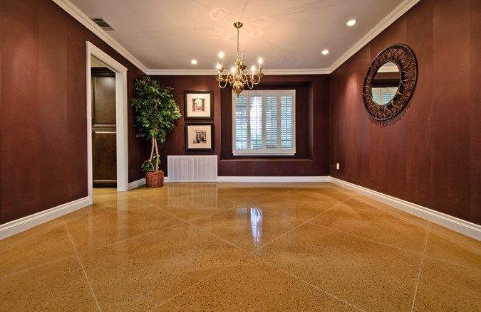 Concrete, Floor, Living Room, Diamond, Tan Concrete Floors Extreme Measures Construction Beaumont, CA